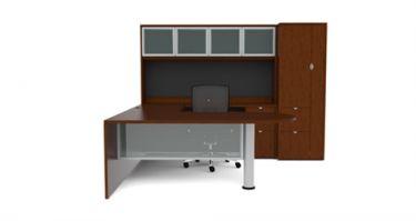 Cherryman Jade Series U-Desk with Multiple Pedestals, Wardrobe, & Glass Door Storage Hutch