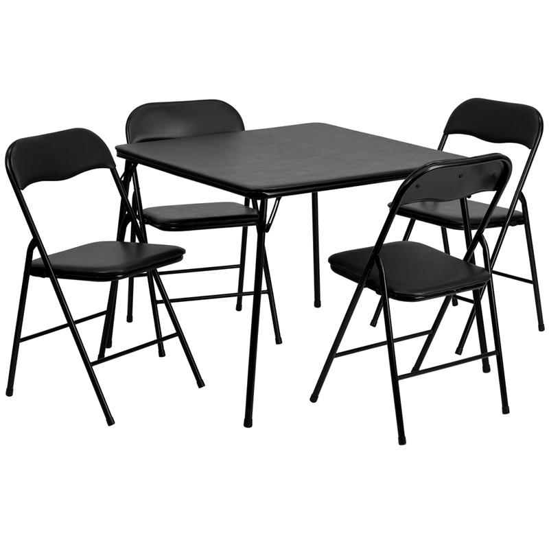 5 Piece Folding Card Table & Chair Set