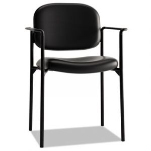 Basyx by Hon Black Leather Stacking Side Chair with Arms