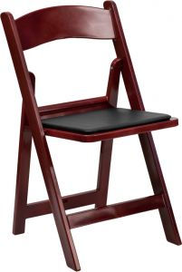 Pro-Tough 1000 lb. Commercial Mahogany Resin Folding Event Chair with Padded Seat