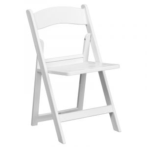 Pro-Tough 1000 lb. White Commercial Resin Folding Event Chair with Slat Seat