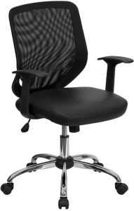 Trent Series Mid Back Task Chair with Leather Padded Seat