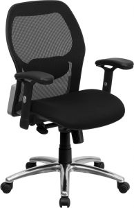 LF Series Black Executive Task Chair with Padded Seat & Chrome Base