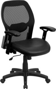 LF Series Mid Back Task Chair with Leather Padded Seat