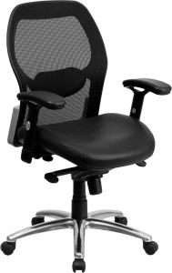 LF Series Mid Back Task Chair with Leather Padded Seat & Knee Tilt Control