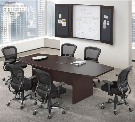 Husky Office® Heavy Duty Boat Shape Conference Table With Slab Base