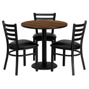 "HUSKY Seating® 30"" Round Black Laminate Round Base Table Set With 3 Ladder Back Black Banquet Chairs"
