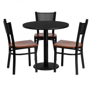 "HUSKY Seating® 30"" Round Black Laminate Round Base Table Set With 3 Grid Back Black Banquet Chairs"
