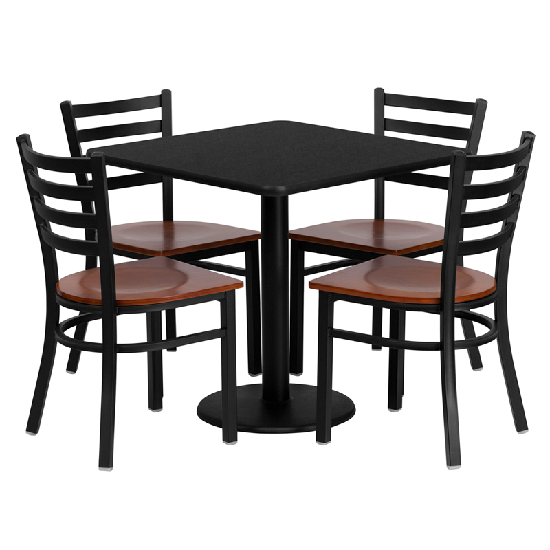 "HUSKY Seating® 30"" Square Laminate Round Base Table Set With 4 Ladder Back Cherrywood Banquet Chairs"