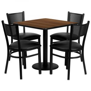 "HUSKY Seating® 30"" Square Walnut Laminate Round Base Table Set With 4 Grid Back Vinyl Banquet Chairs"