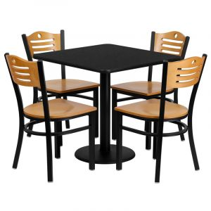 """HUSKY Seating® 30""""W x 30""""L Square Black Laminate Round Base Table Set With 4 Wood Slat Back Banquet Chairs"""