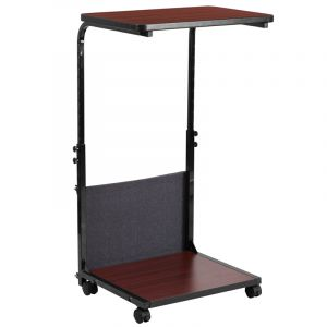 Mobile Standing Height Adjustable Computer Desk with Removable Pouch