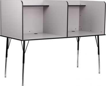 Double Wide Study Carrel with Adjustable Legs