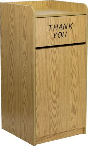 Pro-Tough Wood Tray Top Trash Receptacle