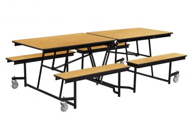 NPS 12' Rectangular Cafeteria Table with 4 Benches - Particleboard Core