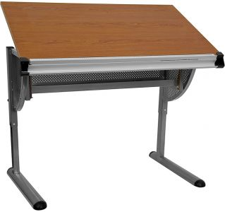 Adjustable Drawing & Drafting Table With Pewter Frame