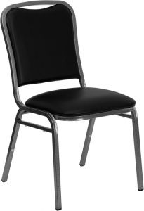 HUSKY Seating® Black Vinyl Commercial Banquet Chair with Silver Frame
