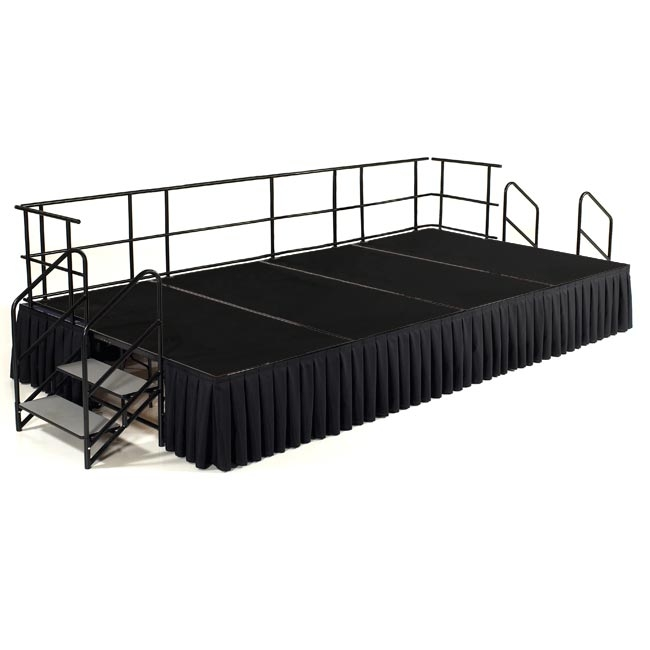 NPS 12' x 8' Carpeted Portable Stage Package with Steps & Rails - 96 sqft