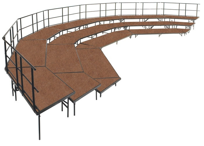 "NPS 3 Level Ring Shape Seated Stage Riser Configuration with 36"" Deep Platforms, 55 Capacity, Hardboard"