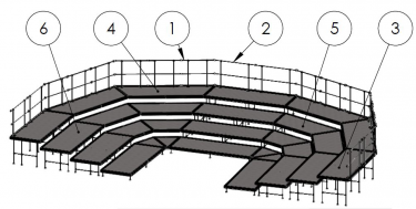 NPS 4 Level Oval Shape Seated Stage Riser Configuration, 72 Capacity