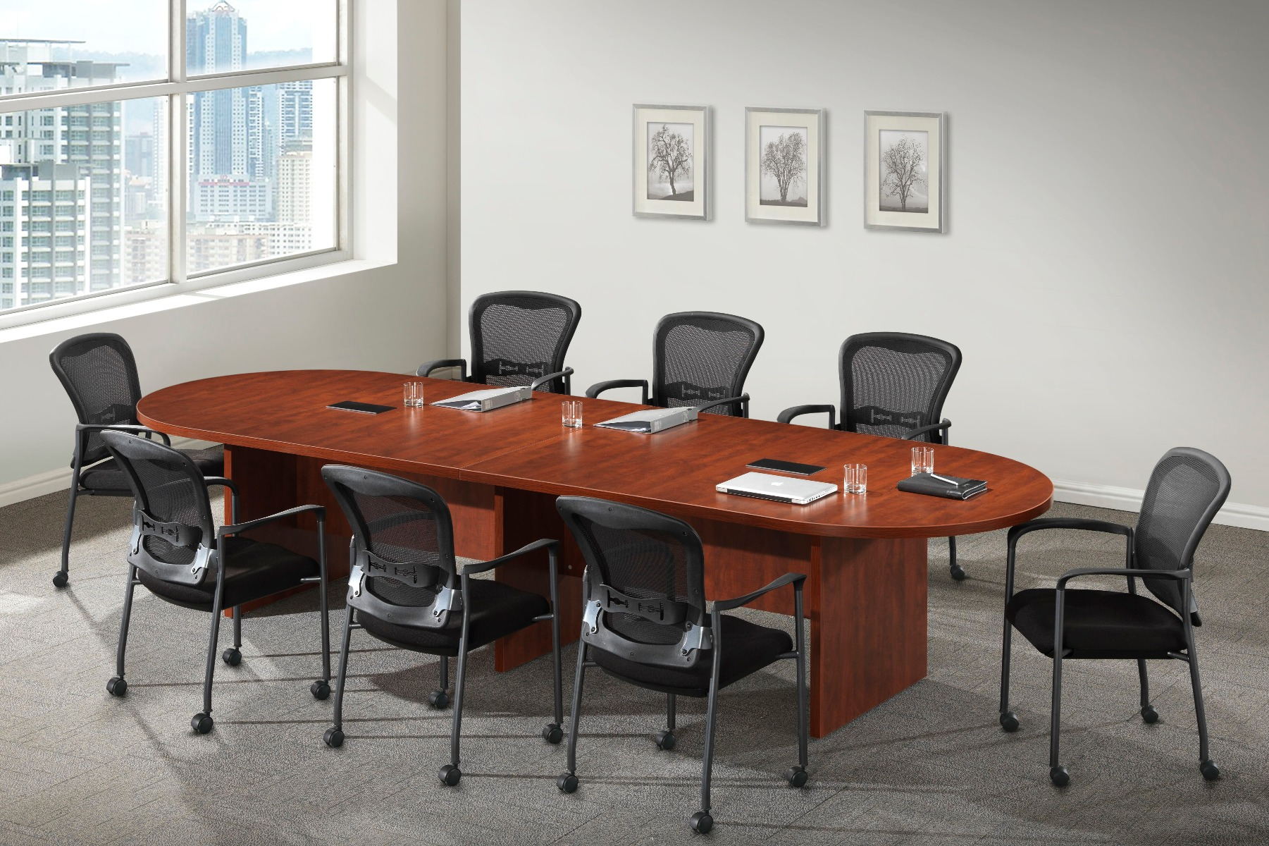 Husky Office® Heavy Duty Oval Conference Table With Slab Base
