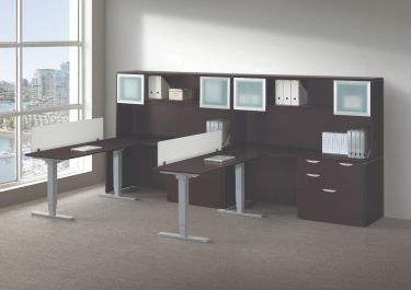 GOGO® Active Sit-Stand Office Suite with Wall Hutch & Storage