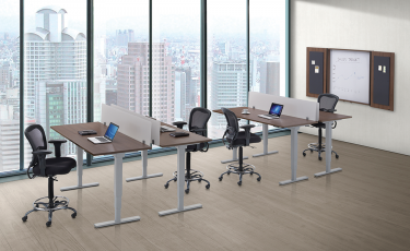 GOGO® Active Premium Electric Sit-Stand Desk Suite with Acrylic Screens