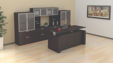 GOGO® Active Sit-Stand Executive Electric Desk Suite with Cabinets