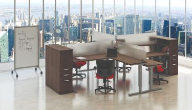 GOGO® Active Sit-Stand 4 Person Suite with Cabinets