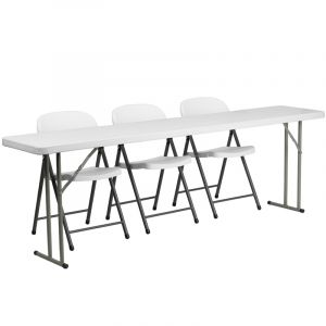 """18"""" W X 96"""" L Folding Training Table with 3 White Plastic Folding Chairs"""