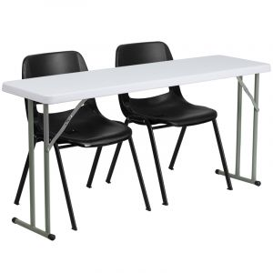"""18"""" W X 60"""" L Folding Training Table with 2 Black Plastic Stack Chairs"""