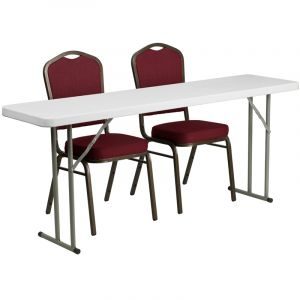 """18"""" W X 72"""" L Folding Training Table with 2 Crown Back Stack Chairs"""