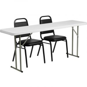 """18"""" W X 72"""" L Folding Training Table with 2 Vinyl Stack Chairs"""