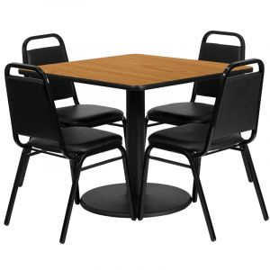 """HUSKY Seating® 36""""W x 36""""L Square Laminate Round Base Table Set With 4 Black Trapezoidal Chairs"""