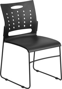 HUSKY Seating® 800 LB Capacity Black Sled Base Stack Chair with Air Vent Back