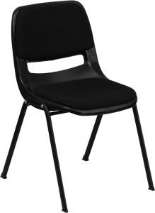 HUSKY Seating® 800 LB Black Ergonomic Stack Chair with Padded Seat & Back