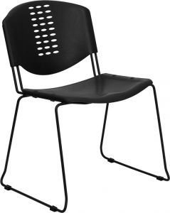 HUSKY Seating® 400 LB Capacity Black Plastic Stack Chair with Sled Base