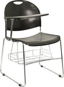 Black Plastic Chair with Sled Base & Right Handed Flip Tablet