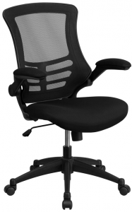 Ergonomic Mid-Back Black Mesh Computer Task Chair with Flip Up Arms
