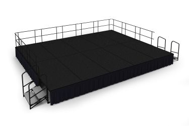 NPS 20' x 16' Carpeted Portable Stage Package with Steps & Rails - 320 sqft - Select Height