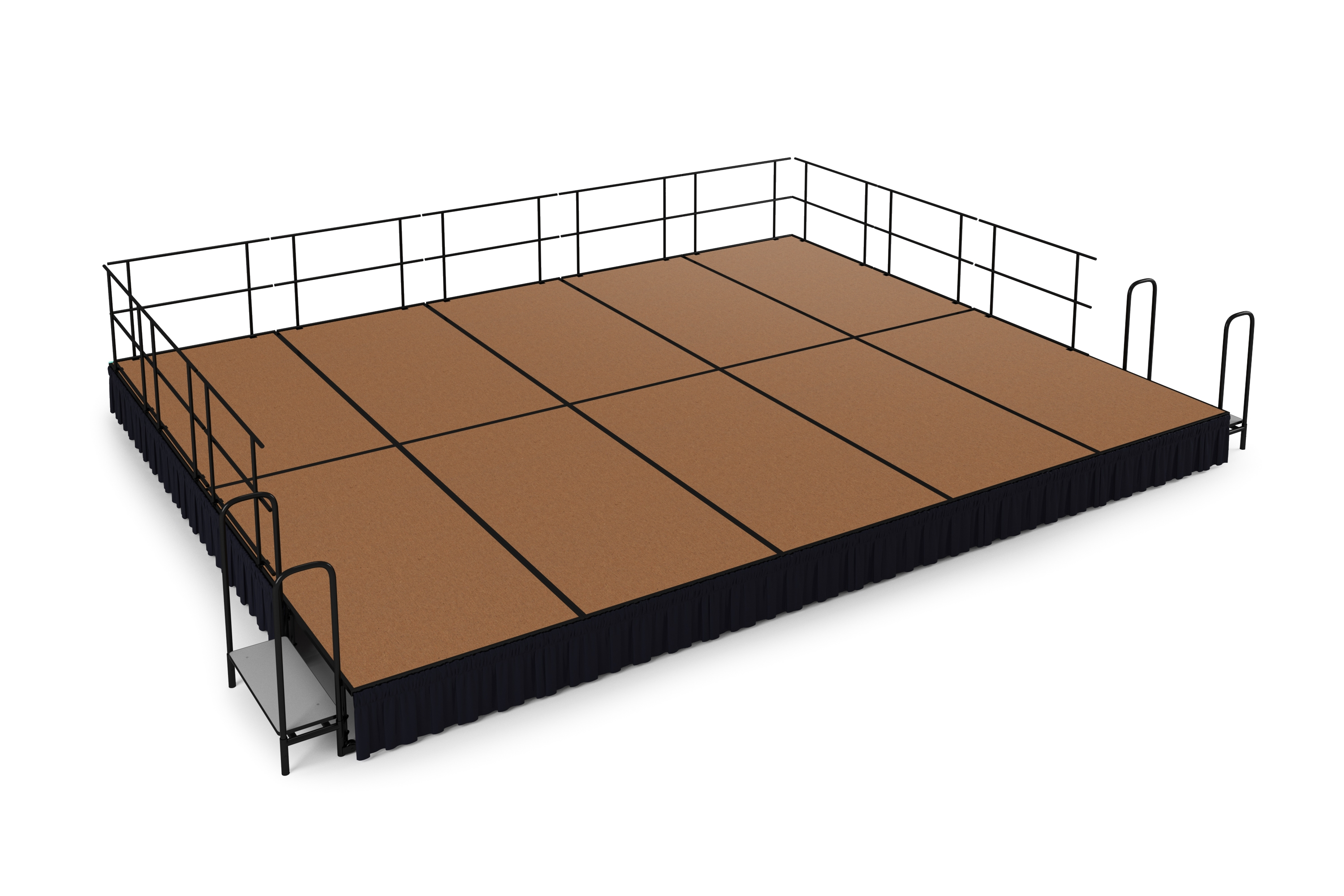 NPS 20' x 16' Hardboard Portable Stage Package with Steps & Rails - 320 sqft - Select Height