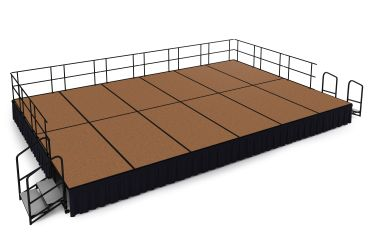 NPS 24' x 16' Hardboard Portable Stage Package with Steps & Rails - 384 sqft