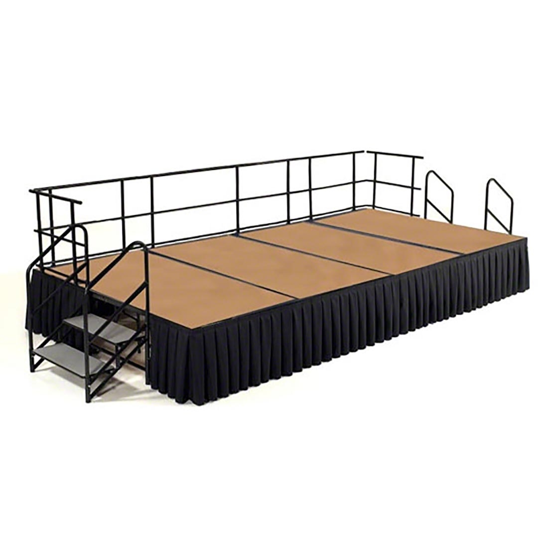 NPS 12' x 8' Hardboard Portable Stage Package with Steps & Rails - 96 sqft
