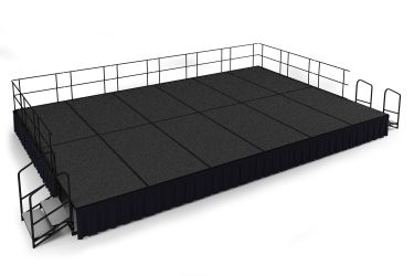 NPS 24' x 16' Carpeted Portable Stage Package with Steps & Rails - 384 sqft