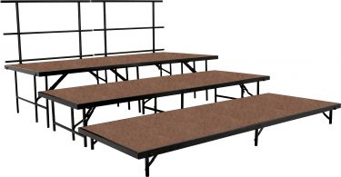 "NPS 5 Piece Hardboard Portable Riser and Stage Set with 48"" Platforms"