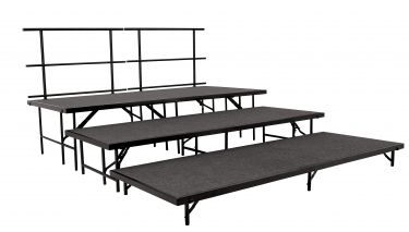 "NPS 5 Piece Carpeted Portable Riser and Stage Set with 48"" Platforms"