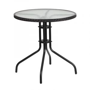 "HUSKY Seating® 28"" Round Glass Metal Cafe Table With Rattan Edging"