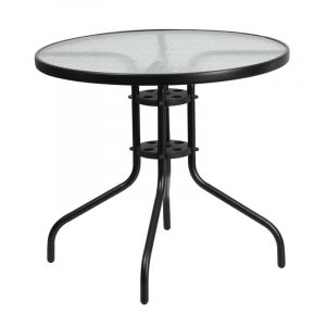 "HUSKY Seating® 31.5"" Round Glass Metal Patio Table"
