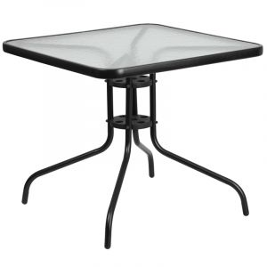 "HUSKY Seating® 31.5"" Square Glass Metal Patio Table"