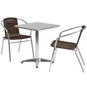 "23.5"" Square Indoor-Outdoor Aluminum Table with 2 Brown Rattan Chairs"